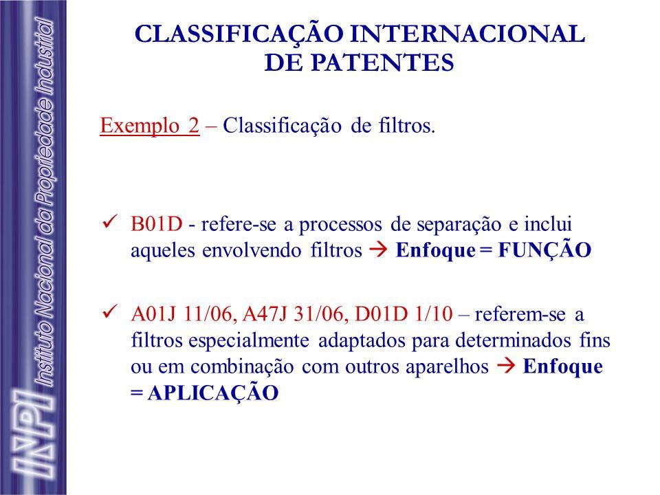 B01D - refere-se a processos de separação e inclui aqueles envolvendo filtros Enfoque = FUNÇÃO A01J 11/06, A47J 31/06, D01D 1/10 – referem-se a filtro