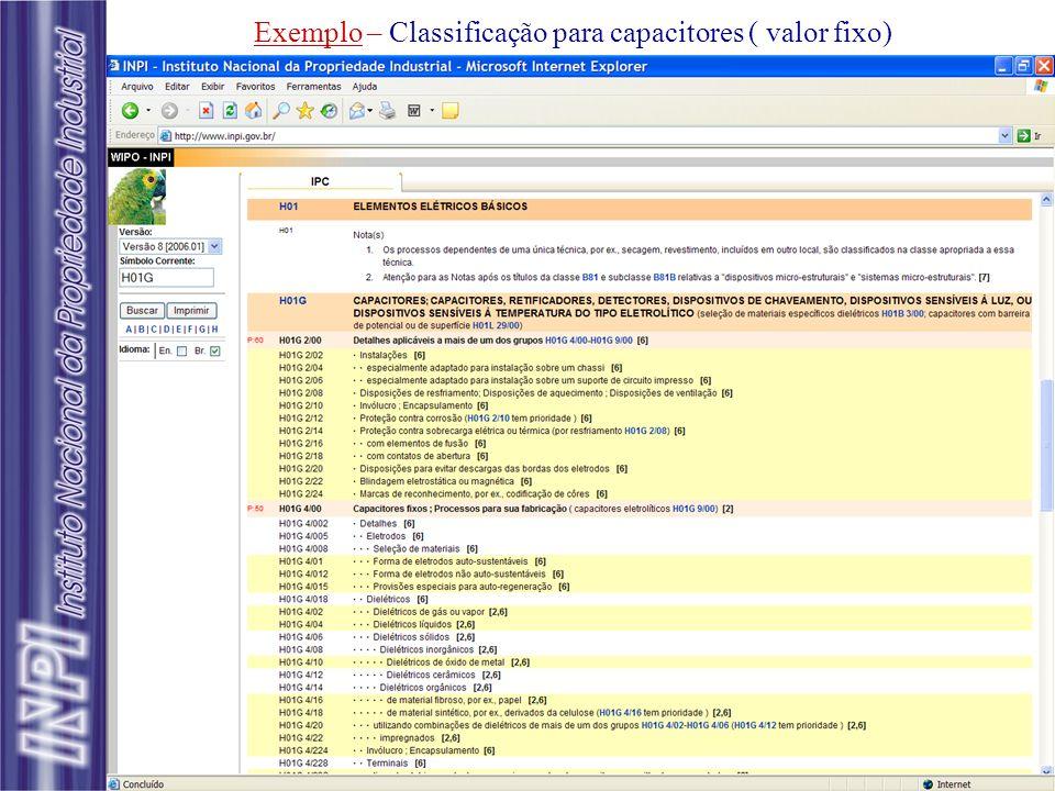 Exemplo – Classificação para capacitores ( valor fixo)