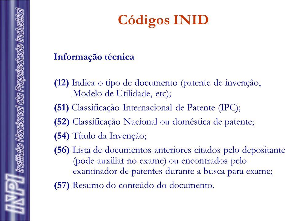 Informação técnica (12) Indica o tipo de documento (patente de invenção, Modelo de Utilidade, etc); (51) Classificação Internacional de Patente (IPC);