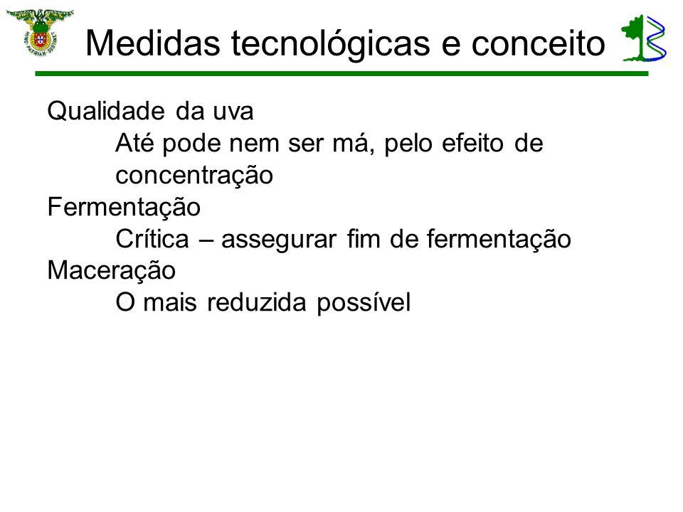 Medidas tecnológicas e conceito Qualidade da uva Até pode nem ser má, pelo efeito de concentração Fermentação Crítica – assegurar fim de fermentação M