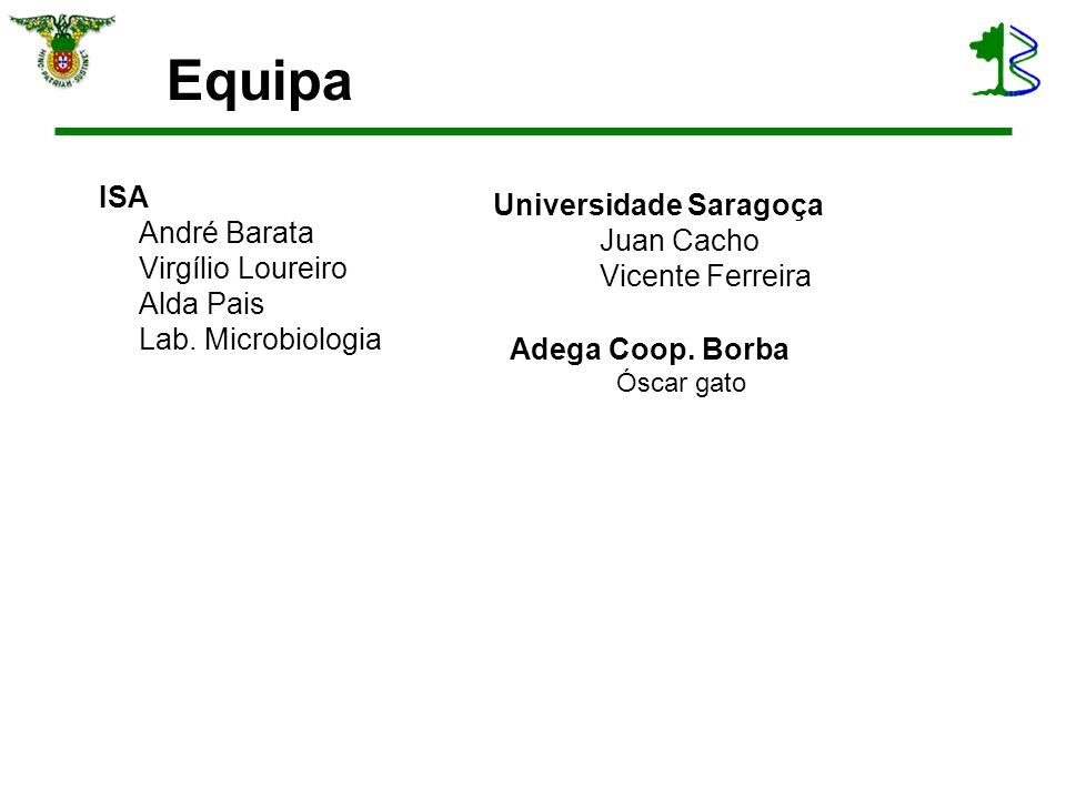 Equipa ISA André Barata Virgílio Loureiro Alda Pais Lab. Microbiologia Universidade Saragoça Juan Cacho Vicente Ferreira Adega Coop. Borba Óscar gato