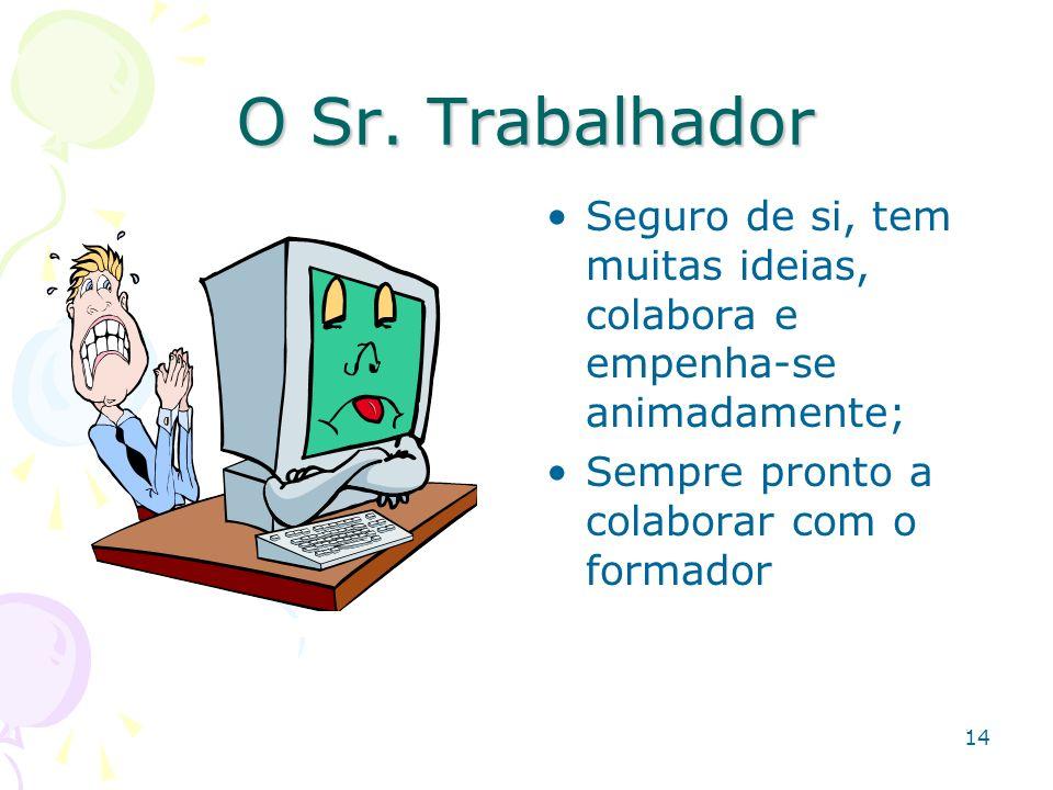 14 O Sr. Trabalhador Seguro de si, tem muitas ideias, colabora e empenha-se animadamente; Sempre pronto a colaborar com o formador