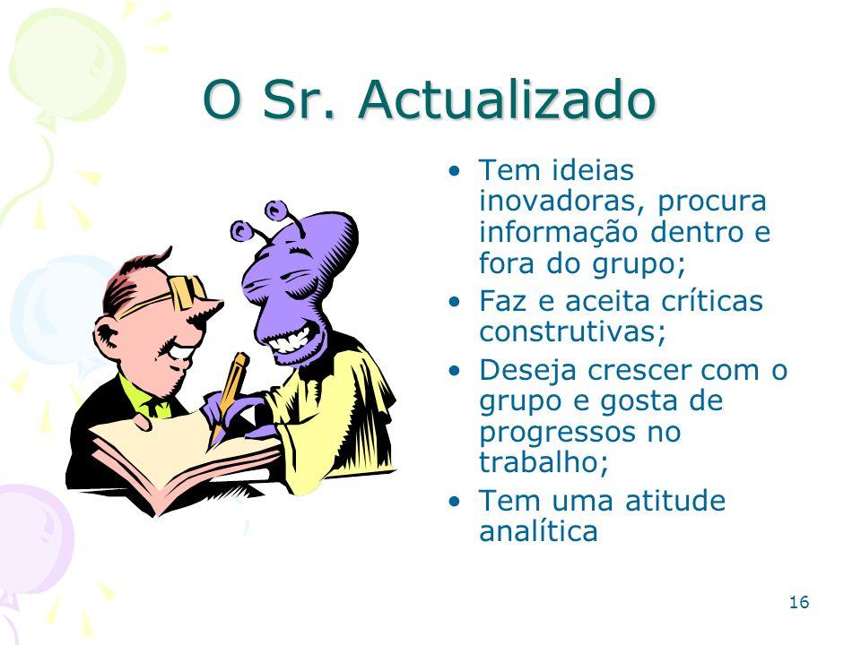 16 O Sr. Actualizado Tem ideias inovadoras, procura informação dentro e fora do grupo; Faz e aceita críticas construtivas; Deseja crescer com o grupo