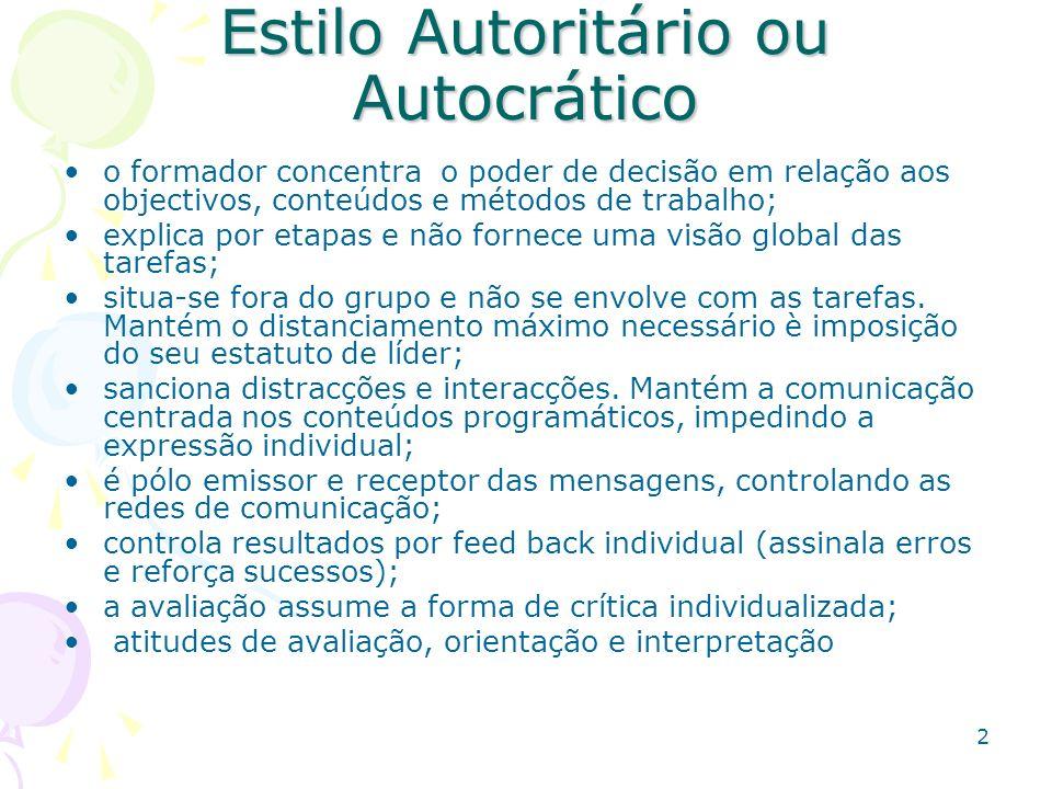 2 Estilo Autoritário ou Autocrático o formador concentra o poder de decisão em relação aos objectivos, conteúdos e métodos de trabalho; explica por et