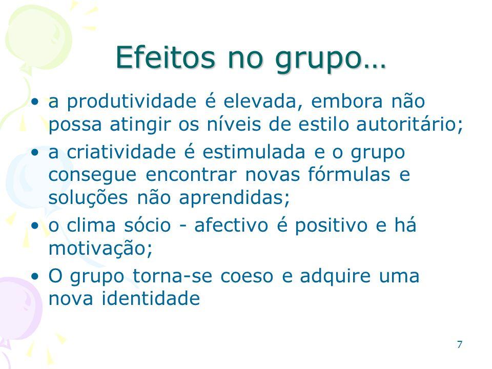 7 Efeitos no grupo… Efeitos no grupo… a produtividade é elevada, embora não possa atingir os níveis de estilo autoritário; a criatividade é estimulada