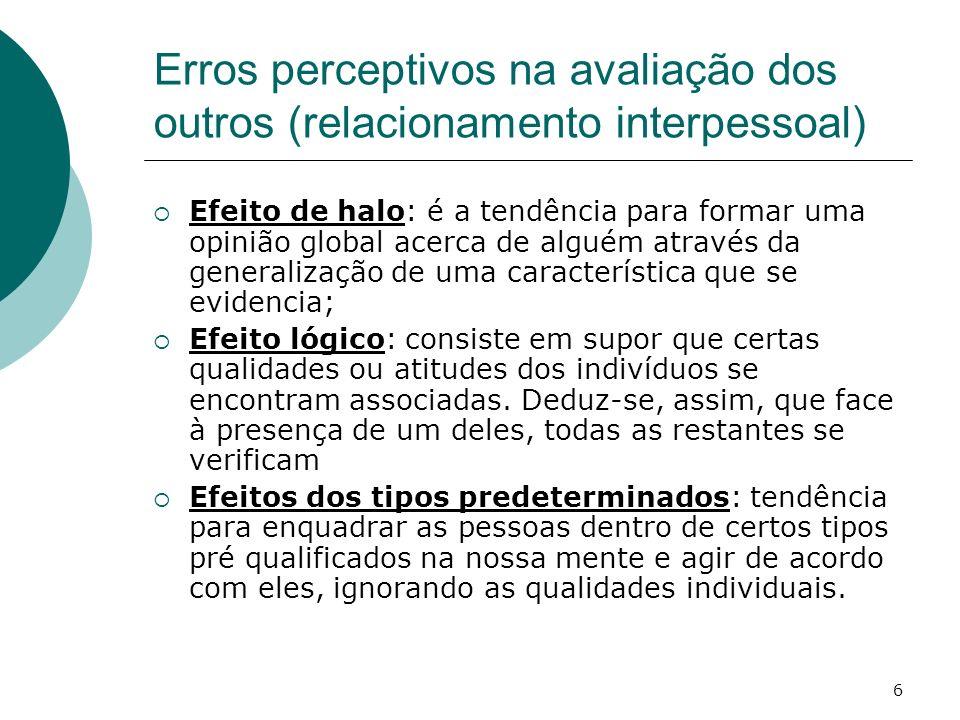 7 Erros perceptivos na avaliação dos outros (relacionamento interpessoal) Efeito de carácter: tendência para classificar as pessoas nos extremos da escala de valores, sem considerar posições intermédias.