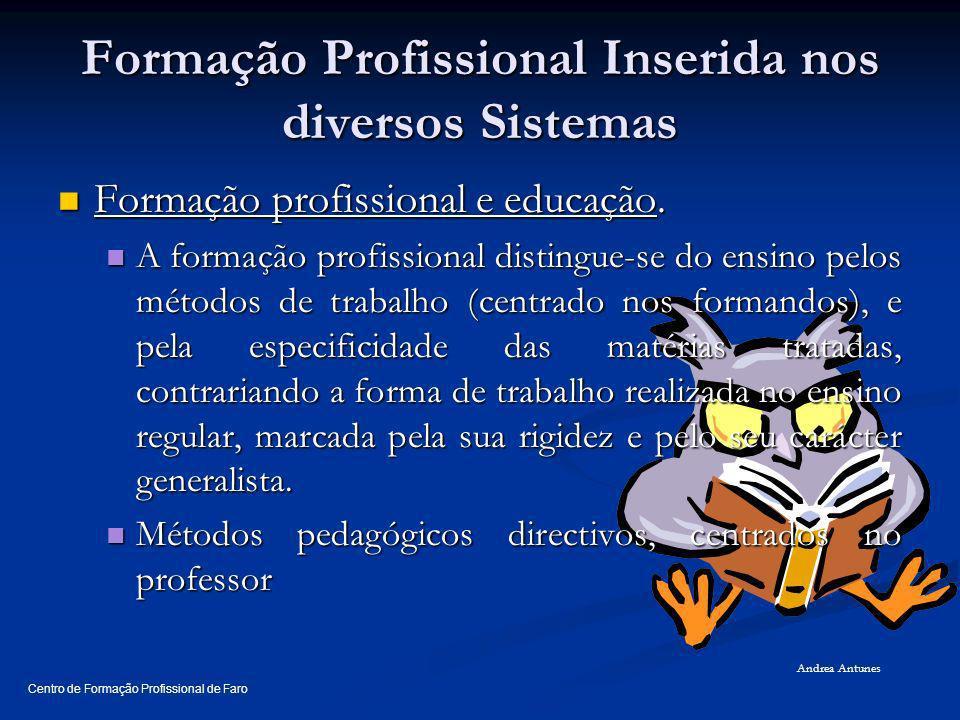 Formação Profissional Inserida nos diversos Sistemas Formação profissional e educação. Formação profissional e educação. A formação profissional disti