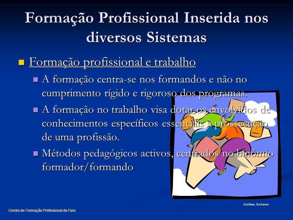Formação Profissional Inserida nos diversos Sistemas Formação profissional e trabalho Formação profissional e trabalho A formação centra-se nos forman