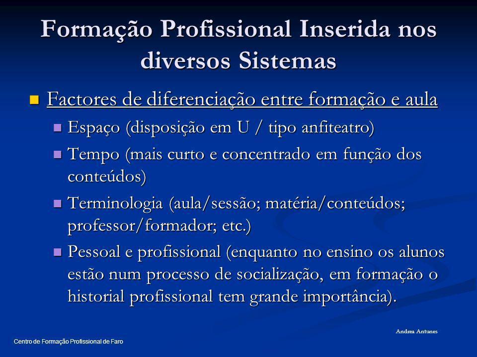 Formação Profissional Inserida nos diversos Sistemas Factores de diferenciação entre formação e aula Factores de diferenciação entre formação e aula E