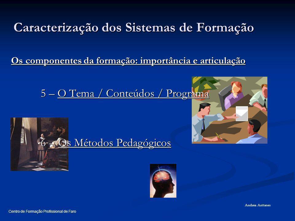 O QUE CARACTERIZA O SISTEMA DE FORMAÇÃO O QUE CARACTERIZA O SISTEMA DE FORMAÇÃO IMPORTÂNCIA DOS COMPONENTES DA FORMAÇÃO IMPORTÂNCIA DOS COMPONENTES DA FORMAÇÃO QUEM PARTICIPA NO SISTEMA DE FORMAÇÃO QUEM PARTICIPA NO SISTEMA DE FORMAÇÃO Centro de Formação Profissional de Faro Andrea Antunes