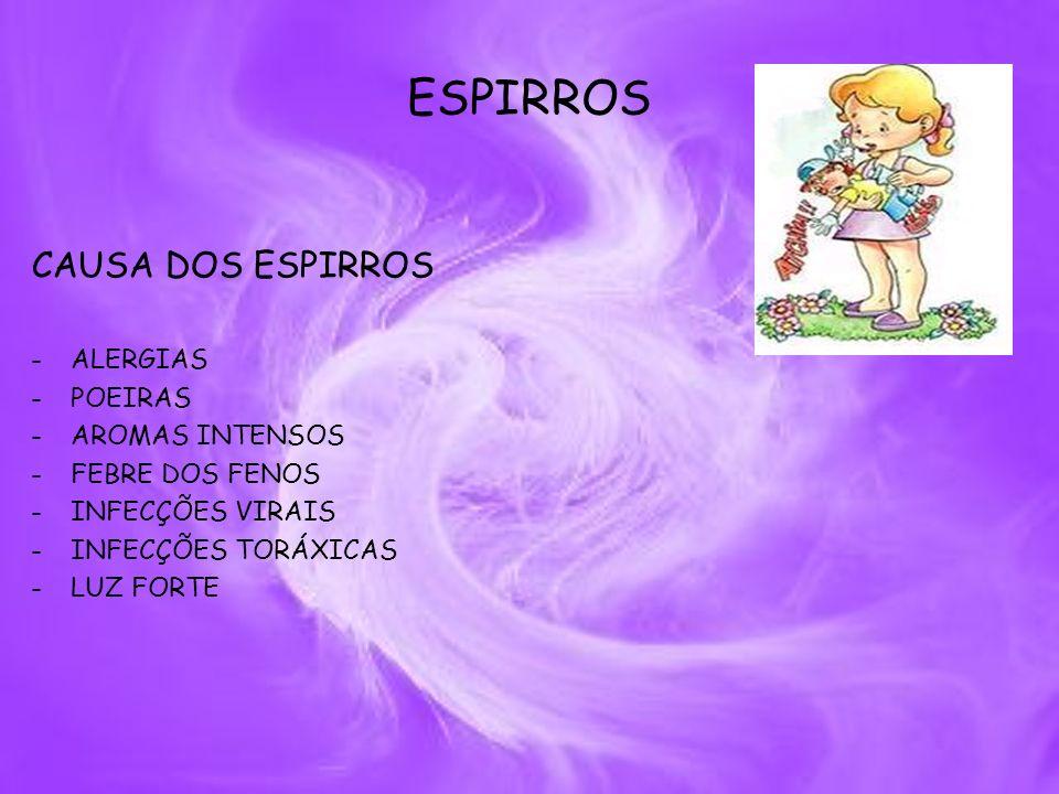ESPIRROS CAUSA DOS ESPIRROS -ALERGIAS -POEIRAS -AROMAS INTENSOS -FEBRE DOS FENOS -INFECÇÕES VIRAIS -INFECÇÕES TORÁXICAS -LUZ FORTE