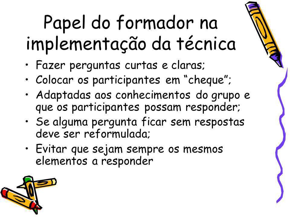 Papel do formador na implementação da técnica Fazer perguntas curtas e claras; Colocar os participantes em cheque; Adaptadas aos conhecimentos do grup