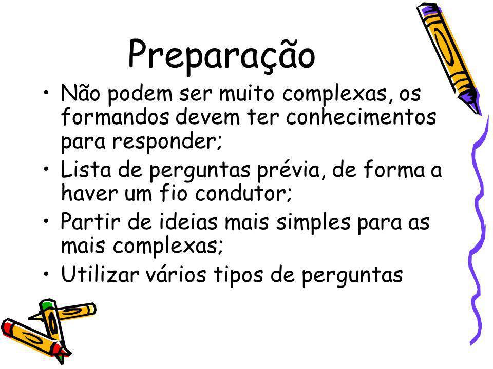 Preparação Não podem ser muito complexas, os formandos devem ter conhecimentos para responder; Lista de perguntas prévia, de forma a haver um fio cond