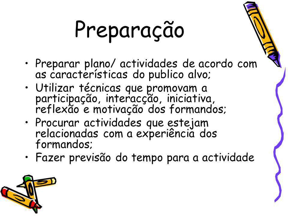 Preparação Preparar plano/ actividades de acordo com as características do publico alvo; Utilizar técnicas que promovam a participação, interacção, in