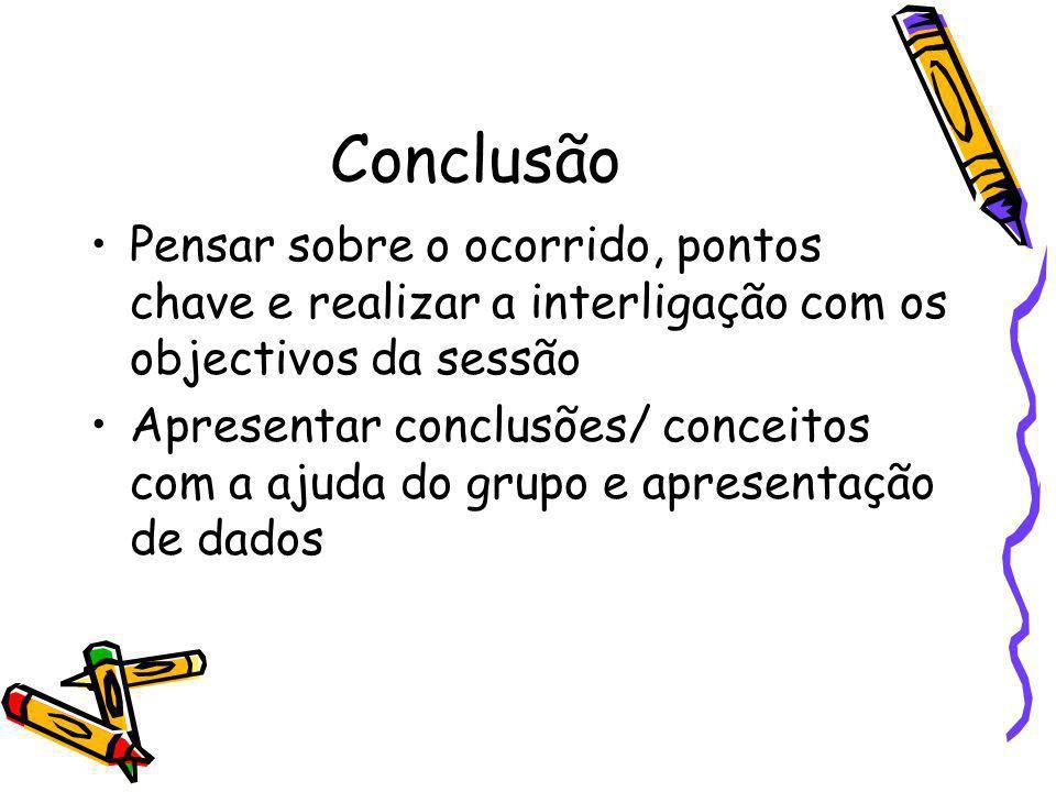 Conclusão Pensar sobre o ocorrido, pontos chave e realizar a interligação com os objectivos da sessão Apresentar conclusões/ conceitos com a ajuda do