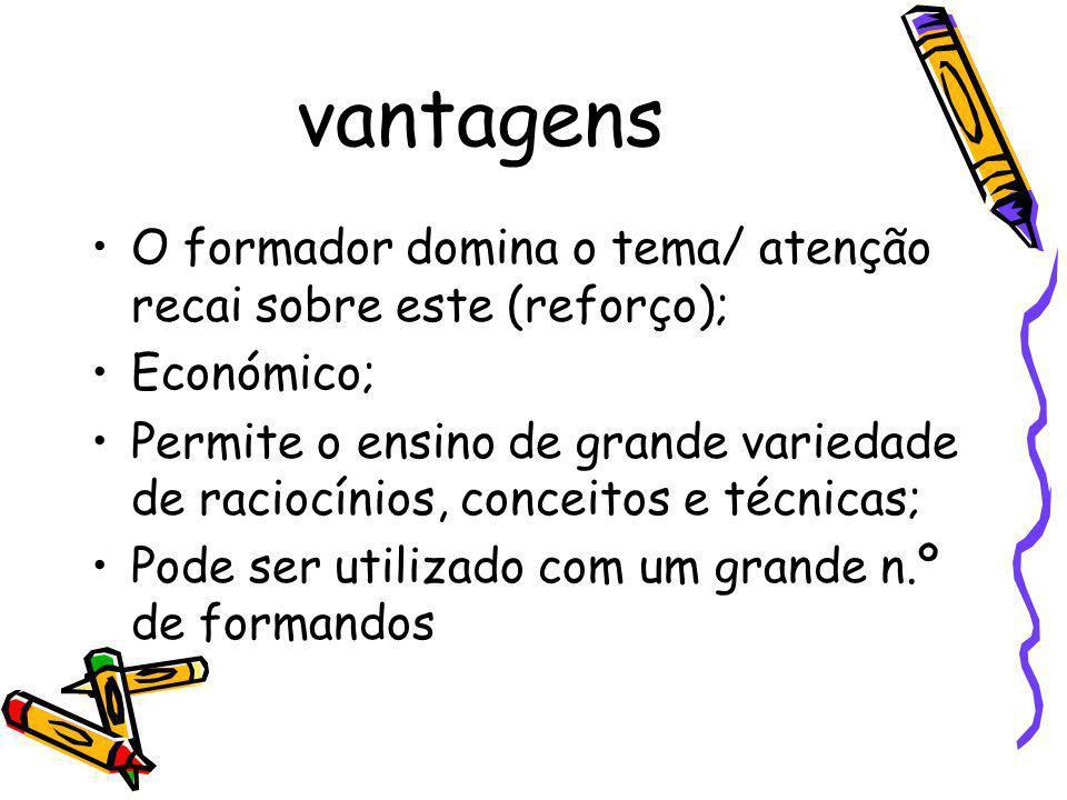 vantagens O formador domina o tema/ atenção recai sobre este (reforço); Económico; Permite o ensino de grande variedade de raciocínios, conceitos e té