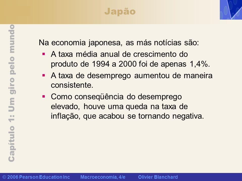 Capítulo 1: Um giro pelo mundo © 2006 Pearson Education Inc Macroeconomia, 4/e Olivier Blanchard Japão Na economia japonesa, as más notícias são: A ta