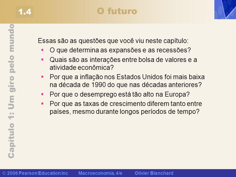 Capítulo 1: Um giro pelo mundo © 2006 Pearson Education Inc Macroeconomia, 4/e Olivier Blanchard O futuro Essas são as questões que você viu neste cap