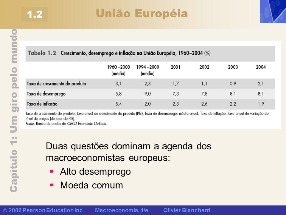 Capítulo 1: Um giro pelo mundo © 2006 Pearson Education Inc Macroeconomia, 4/e Olivier Blanchard União Européia 1.2 Duas questões dominam a agenda dos
