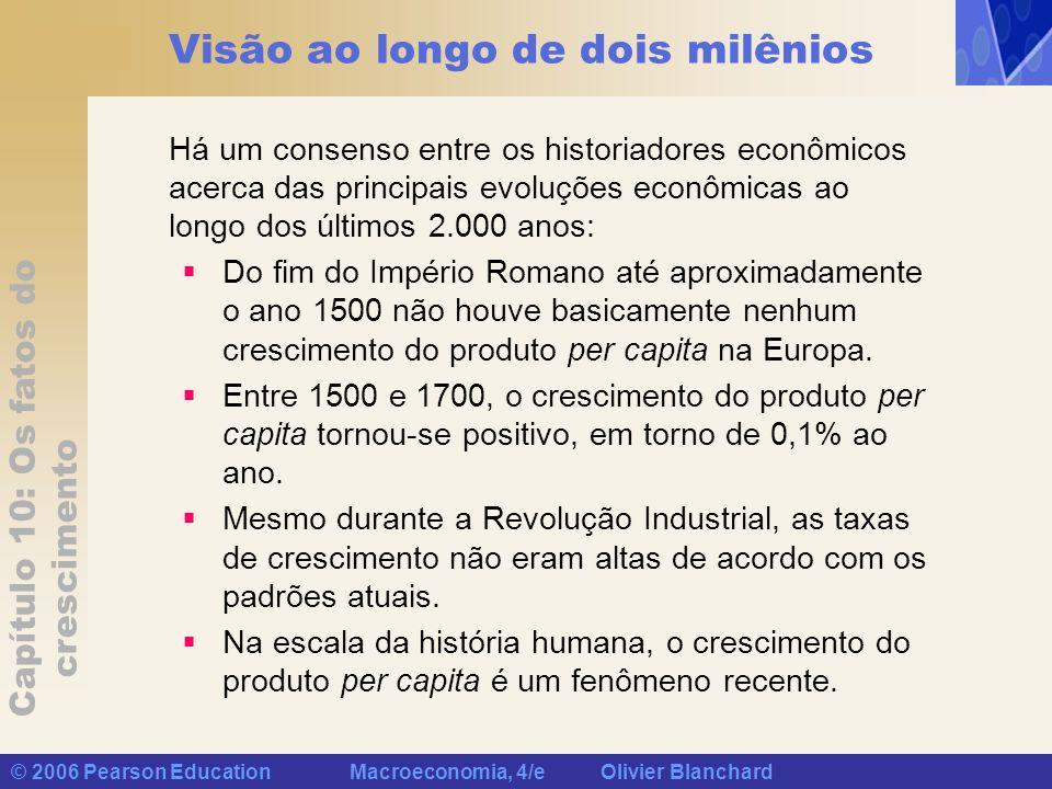 Capítulo 10: Os fatos do crescimento © 2006 Pearson Education Macroeconomia, 4/e Olivier Blanchard Visão ao longo de dois milênios Há um consenso entr