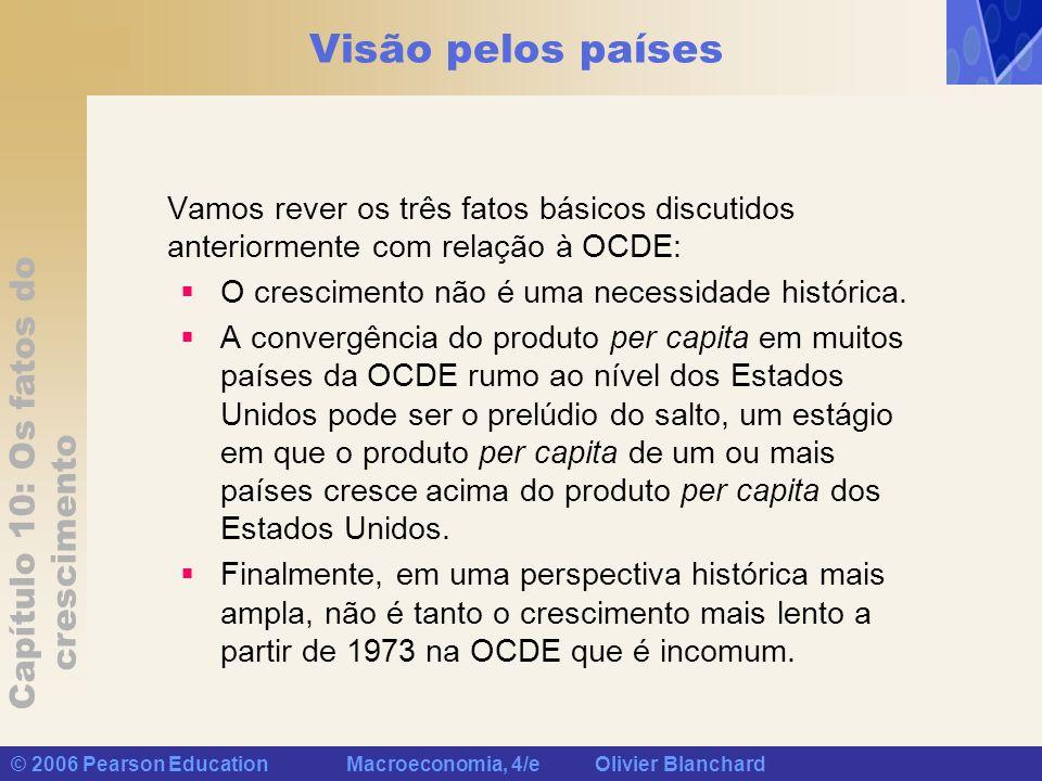 Capítulo 10: Os fatos do crescimento © 2006 Pearson Education Macroeconomia, 4/e Olivier Blanchard Visão pelos países Vamos rever os três fatos básico