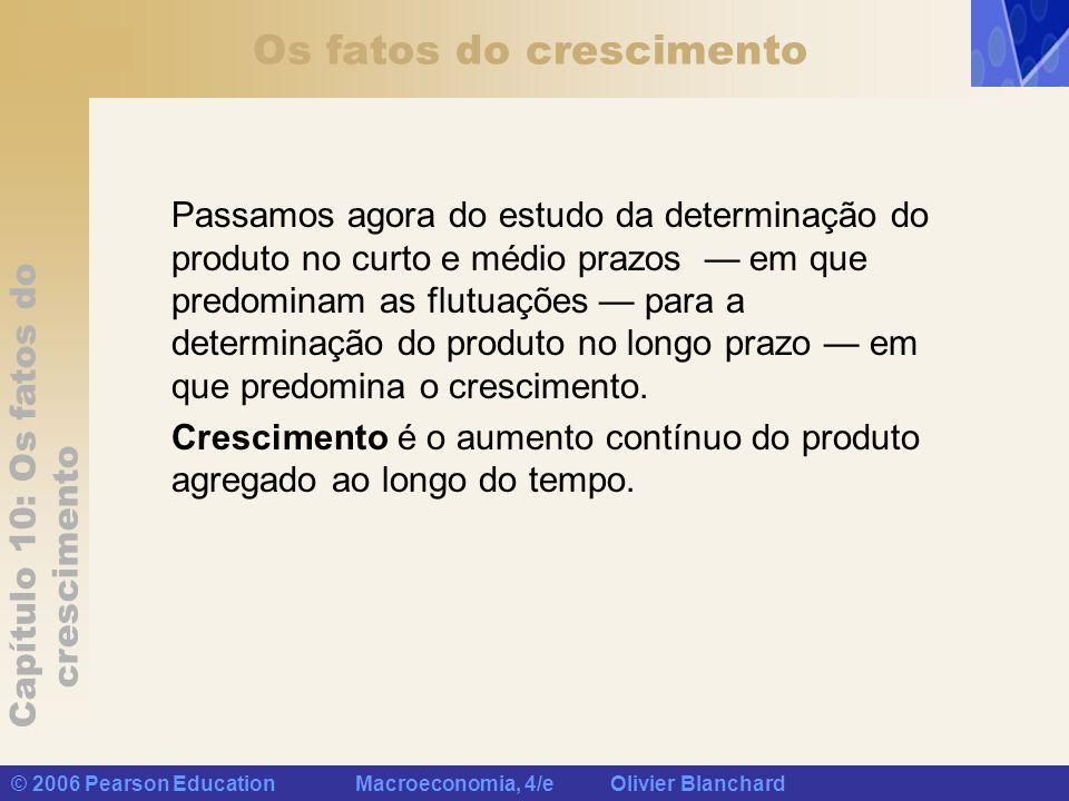 Capítulo 10: Os fatos do crescimento © 2006 Pearson Education Macroeconomia, 4/e Olivier Blanchard Os fatos do crescimento Passamos agora do estudo da