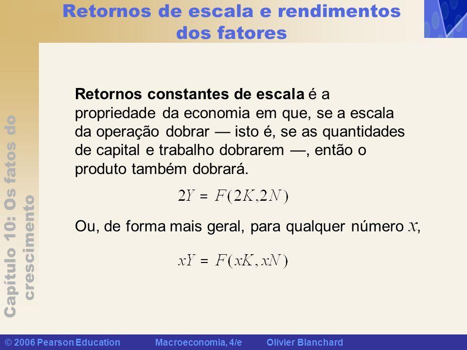 Capítulo 10: Os fatos do crescimento © 2006 Pearson Education Macroeconomia, 4/e Olivier Blanchard Retornos de escala e rendimentos dos fatores Retorn