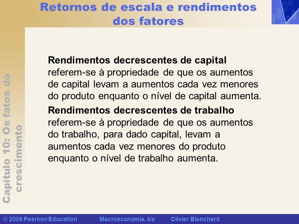 Capítulo 10: Os fatos do crescimento © 2006 Pearson Education Macroeconomia, 4/e Olivier Blanchard Retornos de escala e rendimentos dos fatores Rendim