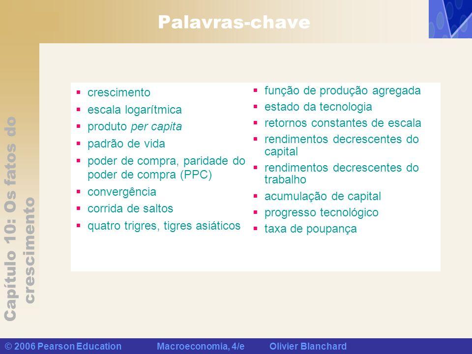 Capítulo 10: Os fatos do crescimento © 2006 Pearson Education Macroeconomia, 4/e Olivier Blanchard Palavras-chave crescimento escala logarítmica produ