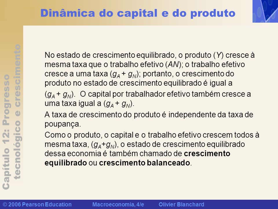 Capítulo 12: Progresso tecnológico e crescimento © 2006 Pearson Education Macroeconomia, 4/e Olivier Blanchard Dinâmica do capital e do produto No est