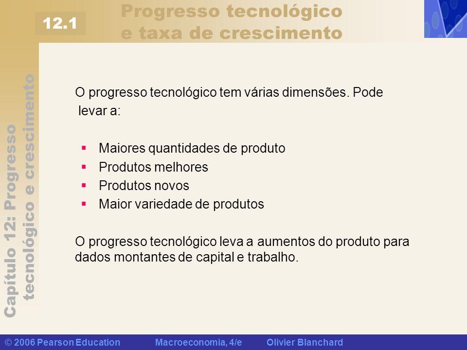 Capítulo 12: Progresso tecnológico e crescimento © 2006 Pearson Education Macroeconomia, 4/e Olivier Blanchard Progresso tecnológico e a função de produção Vamos representar o estado da tecnologia por A e reescrever a função de produção como: Uma forma mais restrita, porém conveniente, é O produto depende tanto do capital quanto do trabalho (K e N), e do estado da tecnologia (A).