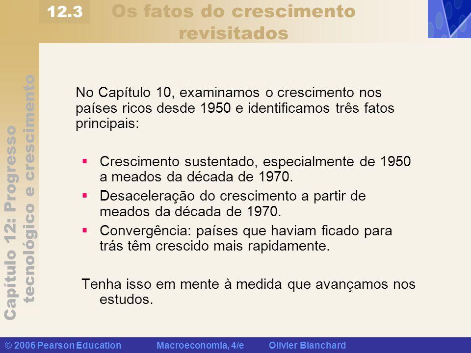 Capítulo 12: Progresso tecnológico e crescimento © 2006 Pearson Education Macroeconomia, 4/e Olivier Blanchard Os fatos do crescimento revisitados No