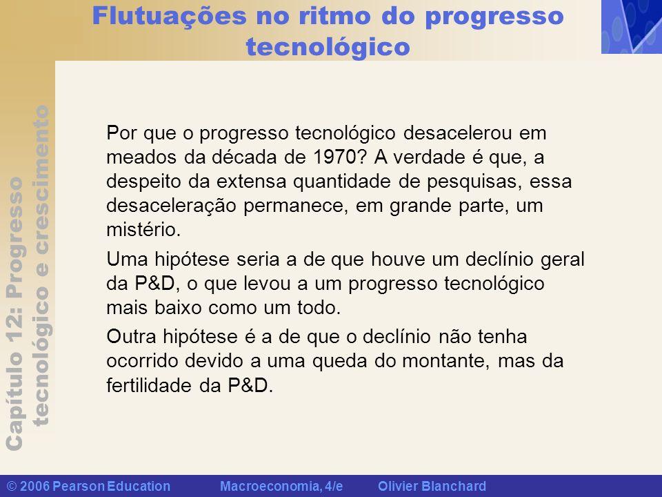 Capítulo 12: Progresso tecnológico e crescimento © 2006 Pearson Education Macroeconomia, 4/e Olivier Blanchard Flutuações no ritmo do progresso tecnol
