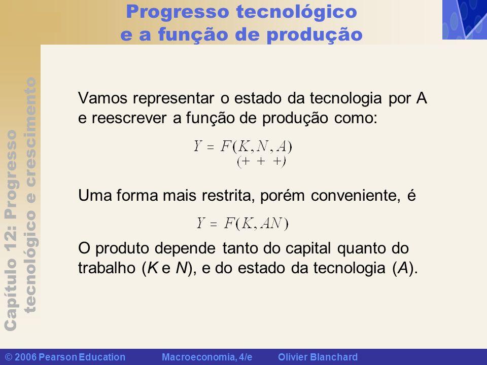 Capítulo 12: Progresso tecnológico e crescimento © 2006 Pearson Education Macroeconomia, 4/e Olivier Blanchard Progresso tecnológico e a função de produção O progresso tecnológico reduz o número de trabalhadores necessário para se obter dado montante de produto.