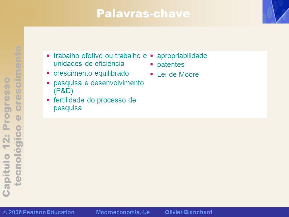 Capítulo 12: Progresso tecnológico e crescimento © 2006 Pearson Education Macroeconomia, 4/e Olivier Blanchard Palavras-chave trabalho efetivo ou trab