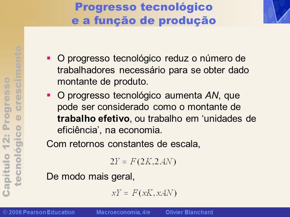 Capítulo 12: Progresso tecnológico e crescimento © 2006 Pearson Education Macroeconomia, 4/e Olivier Blanchard Dinâmica do capital e do produto No estado de crescimento equilibrado, o produto (Y) cresce à mesma taxa que o trabalho efetivo (AN); o trabalho efetivo cresce a uma taxa (g A + g N ); portanto, o crescimento do produto no estado de crescimento equilibrado é igual a (g A + g N ).
