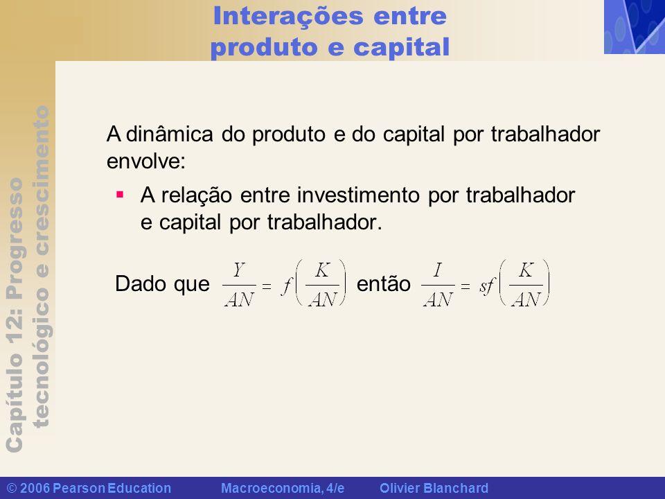 Capítulo 12: Progresso tecnológico e crescimento © 2006 Pearson Education Macroeconomia, 4/e Olivier Blanchard Interações entre produto e capital A relação entre depreciação por trabalhador de modo equivale, o investimento por trabalhador necessário para manter um nível constante de capital por trabalhador e capital por trabalhador.