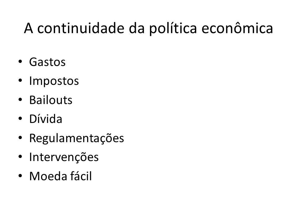 A continuidade da política econômica Gastos Impostos Bailouts Dívida Regulamentações Intervenções Moeda fácil