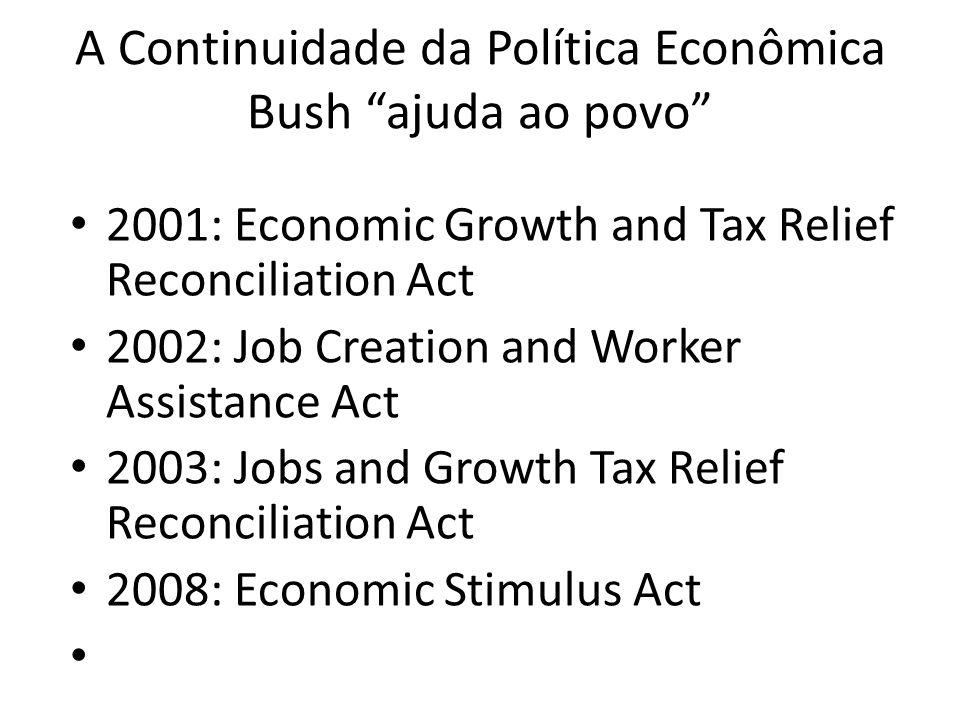 A Continuidade da Política Econômica Bush ajuda ao povo 2001: Economic Growth and Tax Relief Reconciliation Act 2002: Job Creation and Worker Assistan