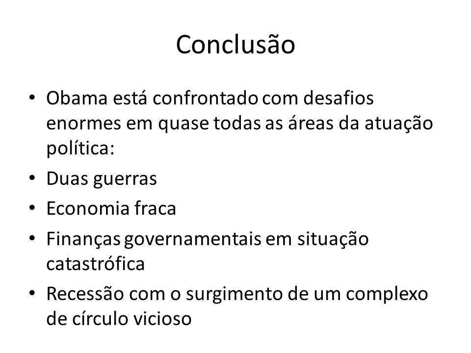 Conclusão Obama está confrontado com desafios enormes em quase todas as áreas da atuação política: Duas guerras Economia fraca Finanças governamentais