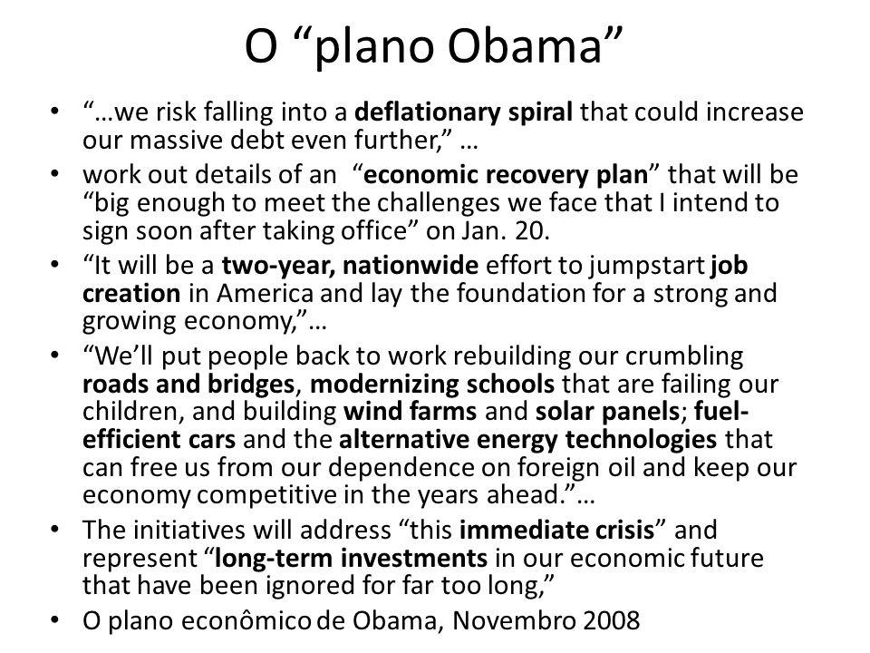 Conclusão Obama está confrontado com desafios enormes em quase todas as áreas da atuação política: Duas guerras Economia fraca Finanças governamentais em situação catastrófica Recessão com o surgimento de um complexo de círculo vicioso