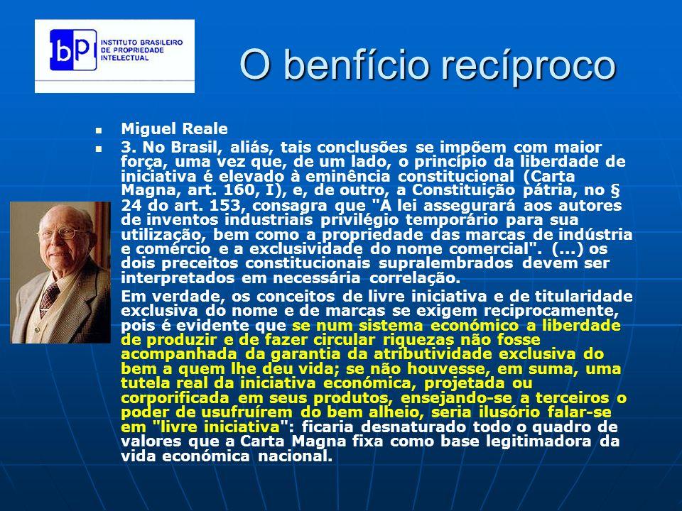 O benfício recíproco Miguel Reale 3. No Brasil, aliás, tais conclusões se impõem com maior força, uma vez que, de um lado, o princípio da liberdade de