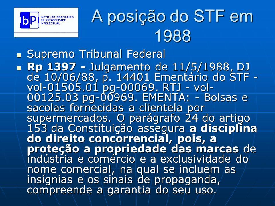 A posição do STF em 1988 Supremo Tribunal Federal Supremo Tribunal Federal Rp 1397 - Julgamento de 11/5/1988, DJ de 10/06/88, p. 14401 Ementário do ST