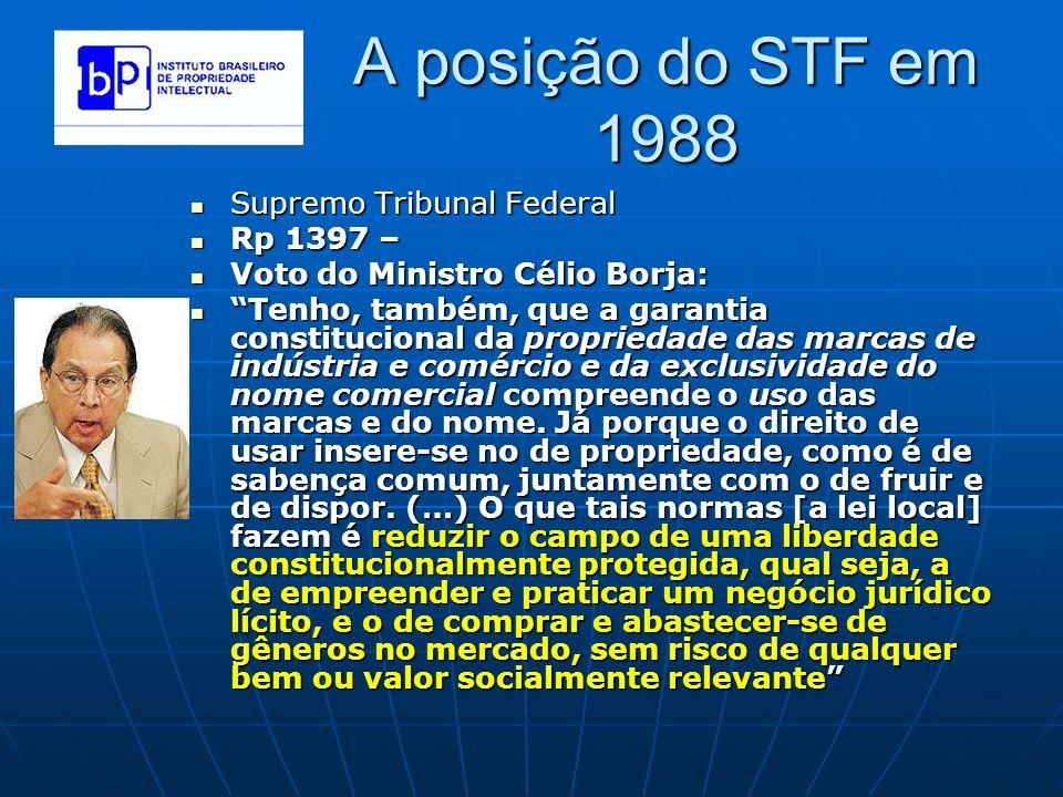 A posição do STF em 1988 Supremo Tribunal Federal Supremo Tribunal Federal Rp 1397 – Rp 1397 – Voto do Ministro Célio Borja: Voto do Ministro Célio Bo