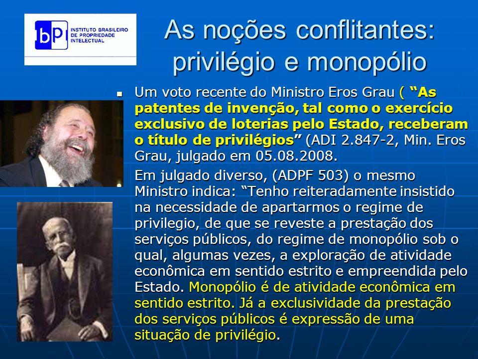 As noções conflitantes: privilégio e monopólio Um voto recente do Ministro Eros Grau ( As patentes de invenção, tal como o exercício exclusivo de lote