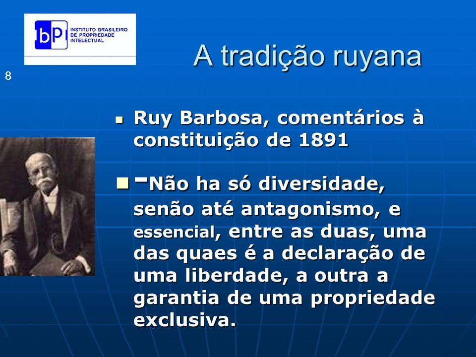 A tradição ruyana 8 Ruy Barbosa, comentários à constituição de 1891 Ruy Barbosa, comentários à constituição de 1891 - Não ha só diversidade, senão até