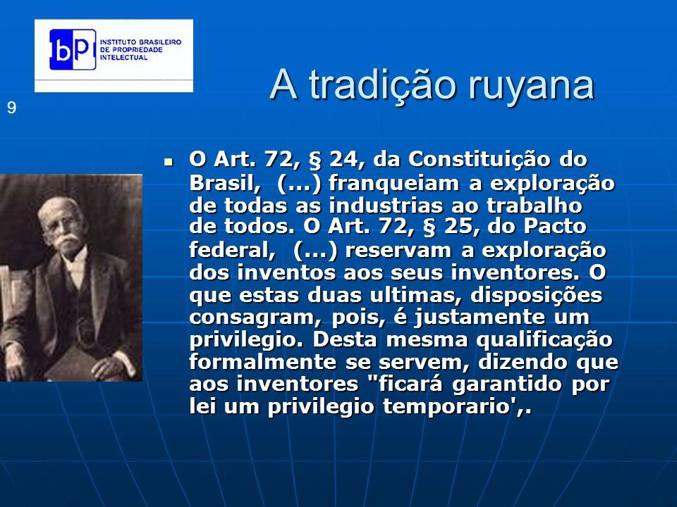 A tradição ruyana 9 O Art. 72, § 24, da Constituição do Brasil, (...) franqueiam a exploração de todas as industrias ao trabalho de todos. O Art. 72,