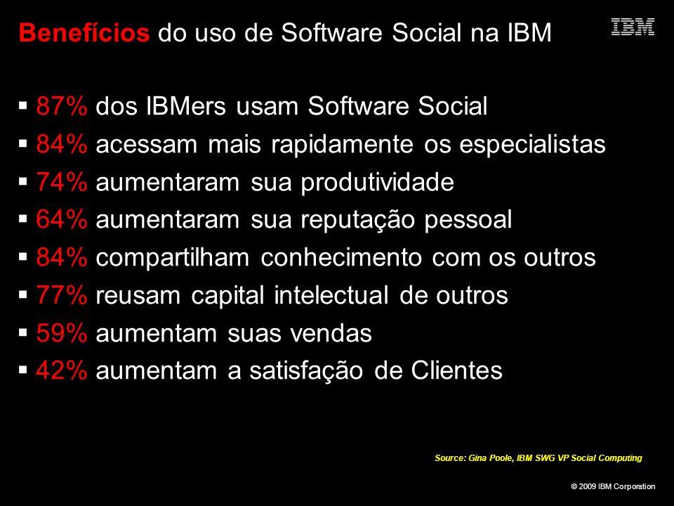 © 2009 IBM Corporation Benefícios do uso de Software Social na IBM 87% dos IBMers usam Software Social 84% acessam mais rapidamente os especialistas 7