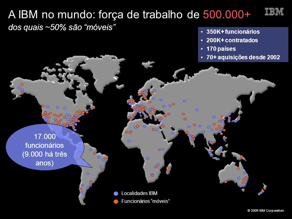 © 2009 IBM Corporation A IBM no mundo: força de trabalho de 500.000+ dos quais ~50% são móveis Localidades IBM Funcionários móveis 350K+ funcionários