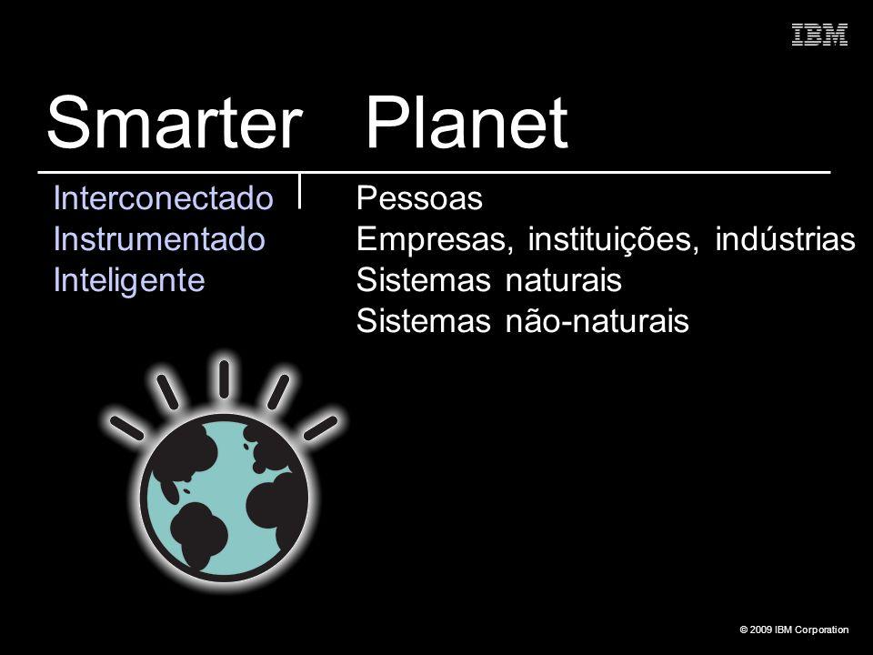© 2009 IBM Corporation Interconectado Instrumentado Inteligente Pessoas Empresas, instituições, indústrias Sistemas naturais Sistemas não-naturais Sma